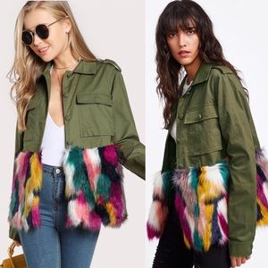 Jackets & Blazers - Faux Fur Colorful Trim Army Green Jacket Small